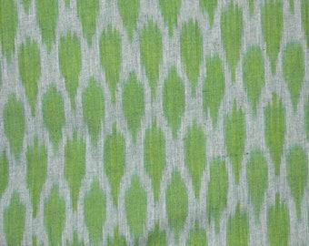 White and Mint Green Ikat Fabric, Ikat Upholstery Fabric, Indian Ikat Fabric, Ikat for cushion covers, Handloom Ikat Cotton Fabric