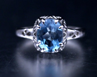Vintage Art Deco 2ct Blue Topaz 925 Silver Ring