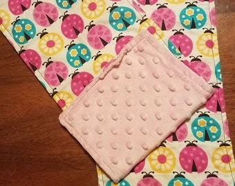Minky and Flannel Baby Burp Rags for Baby Girl
