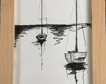 Original Pen and Ink and frame- Peaceful sailboats