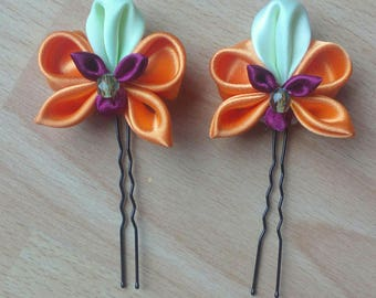 Lot of two hairpins tsumami kanzashi Orchid orange