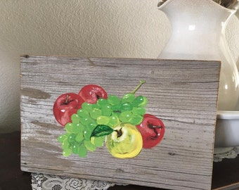 Apples & grapes on reclaimed barn wood