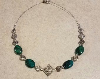 Beautiful chrysocolla silver plated necklace