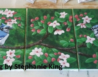 Cherry Blossom Bluejays: Original Acrylic Painting