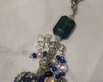 Beautiful purse charm in blues and silvers
