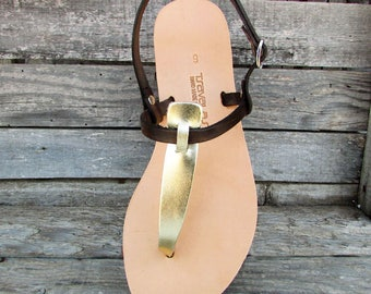 Ancient Greek Premium Leather Slingback Thong Sandals from Greece