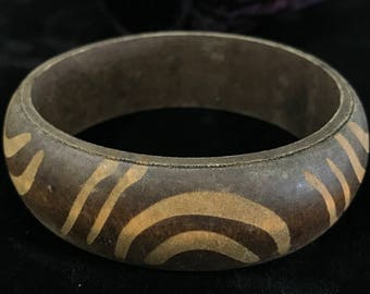 Wood Bangle Bracelet with Carved Markings