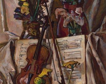 Durdy Bayramov, Still Life with Violin Print