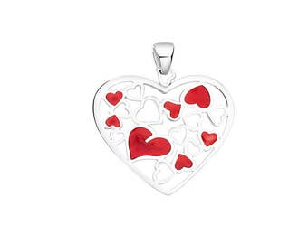 Silver Pendant Passion Red Enamel Love Inspiration Silver 925 Creative Pendant Summer Jewelry Sterling Silver Pendant St. Valentines Gift 
