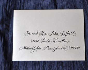 "Custom Wedding Envelope Calligraphy Printing  - ""Orchid"" Style"
