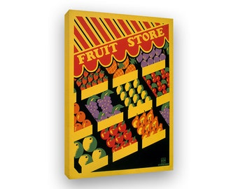 Fruit Store, 1930s WPA Poster, Framed Canvas Print, Ready To Hang Kitchen Art