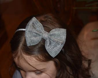 Vintage burlap big hair bow metal headband