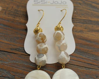 White Beaded Earrings with Gold Accent