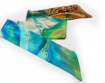 Hand-dyed and hand-painted silk twilly scarf  crafted in Lyon, France