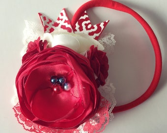 Red Satin headband, flower headband, baby headband