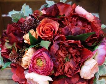 Silk Flower Bouquet: Red