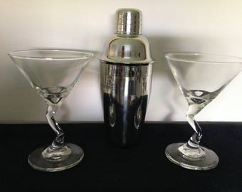 Parfums Givenchy polished stainless steel Martini Shaker and Glasses