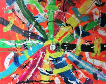 Acrylic painting abstract color of the life, 70 x 90 cm, manual, on stretcher, unique