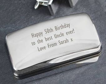 Personalised Cufflinks Box Case For Him Dad Weddings Birthdays Fathers Day Son Gifts Ideas Keepsakes Grandpa Retirement Gifts Ideas