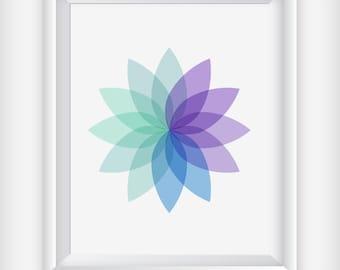 Zen Boho Sunburst Art Print, Positive Wall Art,Floral Art,Yoga Studio Art,Yoga Print, Blue Wall Art, Turquoise Wall Art, Geometric Art Print