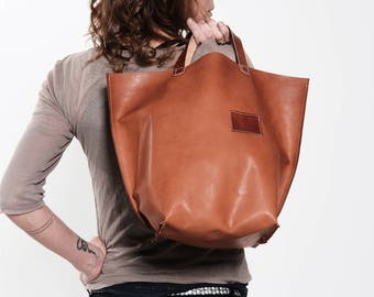 brown leather tote - leather shopper - leather tote - bolso shopper cuero - leather bags women - leather bag - urban leather bag - handbag