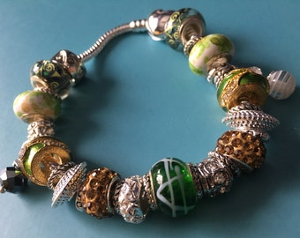 Emerald Green Nature Inspired Charm Bracelet