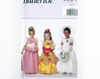 Butterick Pattern 6934, Children's Princess Costumes, Bride Costume, Wedding Gown Costume, Size 2, 3, 4, Halloween, Girl's Dress Up Patterns