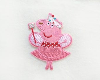 1x princess PEPPA PIG patch custom Iron On Embroidered Applique cartoon pink red fun kid - diy project - dress shoes hat t-shirt