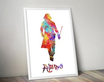 Harry Potter / Harry Potter Print / Large poster Sizes / Professor Snape / Watercolor Print / Watercolor Poster / Always