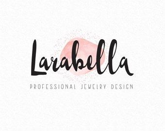 Peach Watercolor Premade Logo Design - Colorful Feminine Logo for Small Business, Jewelry Boutique, Etsy Shop