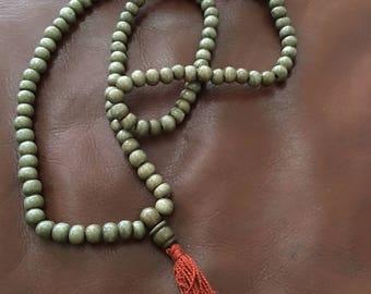 Khaki Olive Mala with Guru bead and tassel
