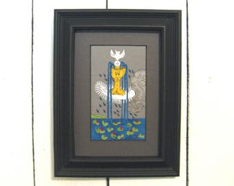 Ace of Cups, Fabric Tarot Card Art, 3x5 inch, matted, unframed, mixed media, made to order