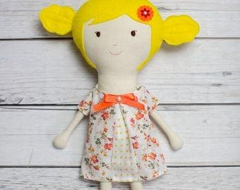 Rag Doll, Soft doll, Handmade doll, Fabric doll,Summer Outdoors gift,Babby shower gift