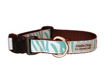 Teal Zebra Collar *FREE SHIPPING*