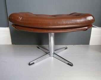 vintage retro mid century chrome swivel foot stool pedestal Danish style ottoman