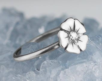 Sterling Silver Poppy Ring Solid .925 Poppies Flower Rings Custom Size