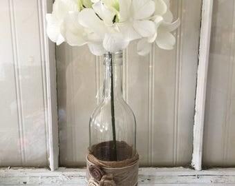 Rustic wine bottle vase