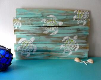 Sea Turtles Pallet Art, Fence art, Ocean art, Reclaimed wood, Sea turtle art, Turtle Wall Hanging, Coastal Decor