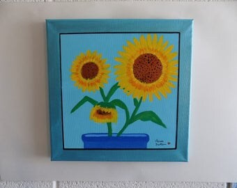 Sunflower Painting, 'Potted Sunflower', acrylic painting, canvas, self framing