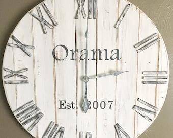 """30"""" White Farmhouse Clock, White Home Decor, Farmhouse Wall Clock, Oversized Wall Clock, Shiplap Decor, Farmhouse Decor, Rustic Decor"""