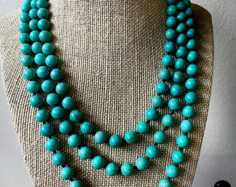 Long Continuous Knotted Turquoise Bead Necklace