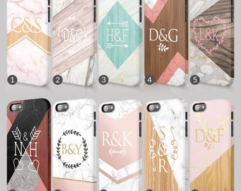 Personalised Marble Timber Hearts Love Initials Custom Phone Case For Iphone & Samsung 3D Full Wrap Hard Cover Gift