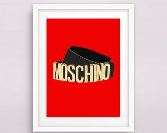 Print / Poster, 'Moschino', Wall Art, Modern, Minimal, Wall Decor, Home Decor, Inspirational Print, Quote Print, Fashion, Typography, Red