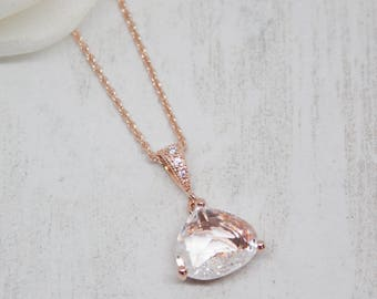 Necklace rose gold crystal wedding Bridal jewelry
