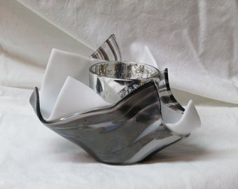 Black and White glass vase or candle holder