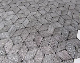 Print a drawing motif of cubes