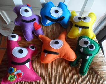 Six Little Monster Dolls  Monster Party Favors Birthday Party Supplies