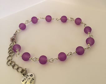Purple 'Made with love' bracelet