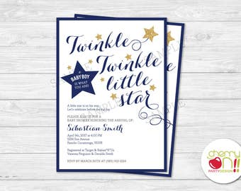 Twinkle Twinkle Little Star Baby Shower Invitation | It's a Boy | Gold Glitter | Star Baby Shower | Printable | Royal Blue