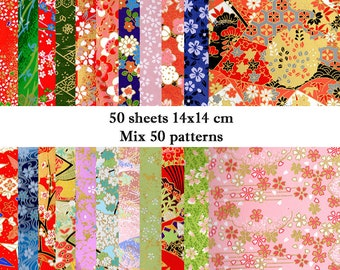 Mix 50 sheets 14cmx14cm Japanese Origami Yuzen Chiyogami Washi Papers